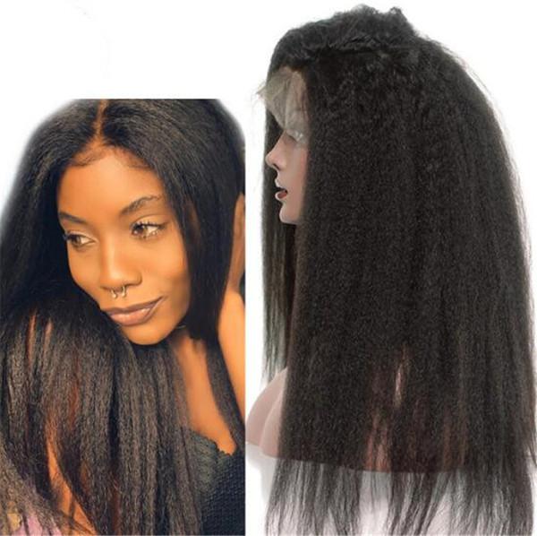 Kinky Düz Tam Dantel Peruk Hint Virgin İnsan Saç Işık Yaki Dantel Ön Peruk Doğal Siyah Renk Saç Peruk