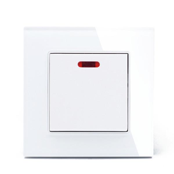Interruptor eléctrico de pared estándar de Reino Unido 20A 1 y panel de vidrio blanco Interruptor de botón