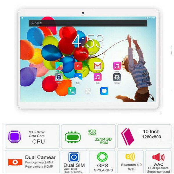 10.1 Inch Tablet PC 4G LTE Octa Core 4GB RAM 64GB ROM Android 7.0 GPS Bluetooth