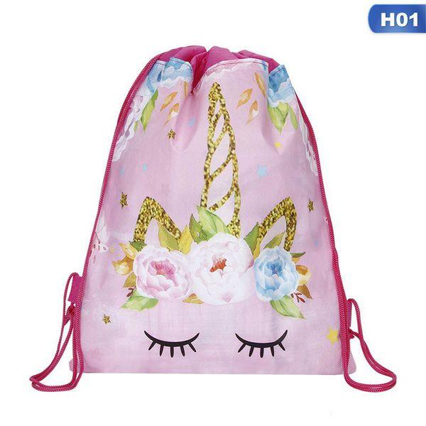 New Unicorn Drawstring bag for Girls Travel Storage Package Cartoon School Backpacks Children Birthday Party Favors