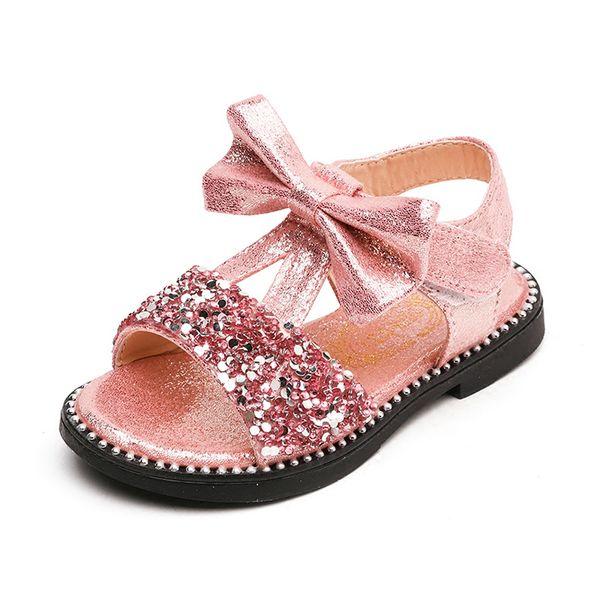 Girls Princess Sequins Beach Sandals For Kids Summer Shoes Baby Children Bowtie T-strap Sandals Shoes Size 21-36