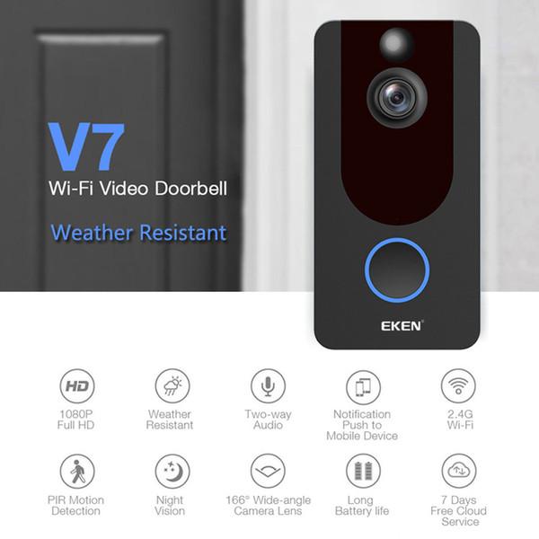 EKEN V7 HD 1080 P Smart WiFi Caméra Vidéo Sonnette Interphone Visuel Avec Carillon Vision Nocturne Nuage De Stockage Porte Bell Caméra De Sécurité Sans Fil