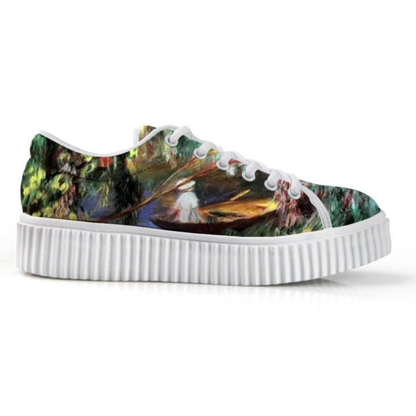 High Quality Women's White Platform Bottom Board Shoes Female Low Top Canvas Shoes Fashion Art Painting Print Custom 2019