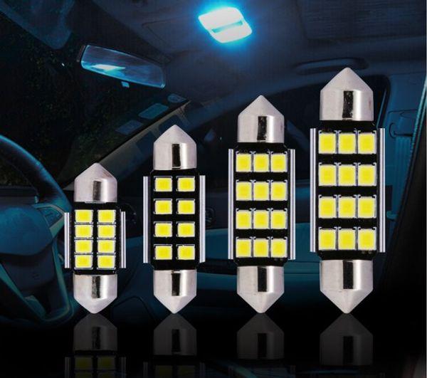 Canbus 31mm 36mm 50pcs 39MM 41mm 2835 SMD 8LED Dôme Festoon voiture lampe d'éclairage intérieur Ampoule Dôme panneau de plafond Lumière