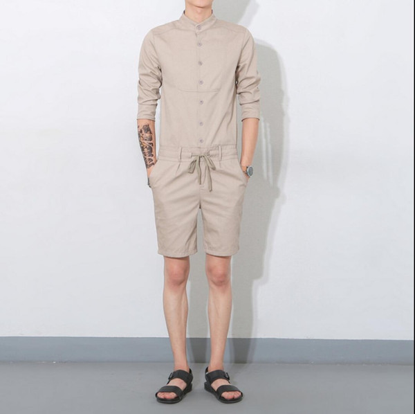 2019 Summer men jumpsuit casual three quarter sleeve fashion overalls one piece clothing set bib pants Coverall singer costumes