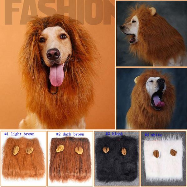 Pet Dog Cat hirewig Costume Clothes Funny Lion Mane Wig Head Warm Hat 4 Colors LJJM11