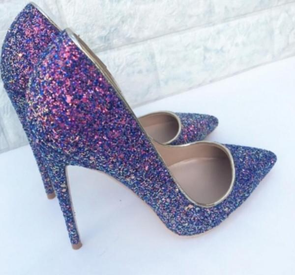 Phantom purple sequins Chaussures à talons hauts pour femmes avec talons minces cuspides peu profondes party party club robe dance work wedding 10cm grande taille 44
