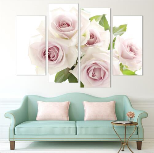 4 Piece romantic Pink Home Decorative Canvas Painting Living Room Paint Wall Hanging Art Picture Paint On Canvas Prints