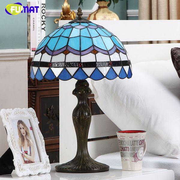 FUMAT Lampe De Table De Style Baroque Abat-Jour Bleu Lampes De Table En Verre Teinté Pour Salon Chambre Chambre Art Mode LED Lampes De Table