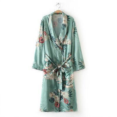 Kadınlar Uzun Maxi Out Wear Kaftan Coat Robe Giyim Kadınlar Uzun Kollu Gevşek Çiçek PrintProduct OverviewDescription Tops