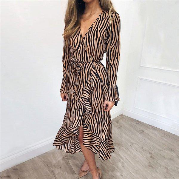 Robes longues d'été 2019 femmes impression de zèbre plage en mousseline de soie robe Casual manches longues col en V volants robe de soirée élégante robes S19801