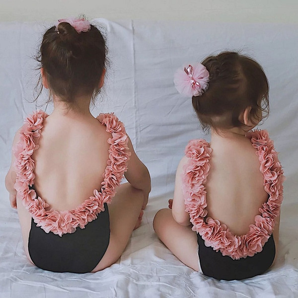 top popular Vieeoease Girls Flower Swimwear One-pieces Swim Kids Clothing 2019 Summer Korean Fashion Backless Princess Swimwear CC-285 2021