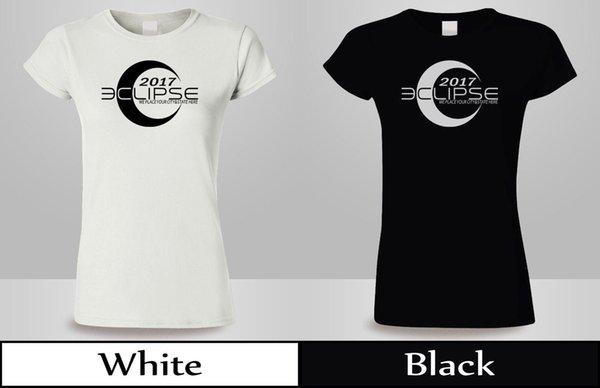2017 Eclipse solare con la tua città, maglietta di stato Womens BackWhite Tee Nuovo 2Funny spedizione gratuita Maglietta casual unisex Top