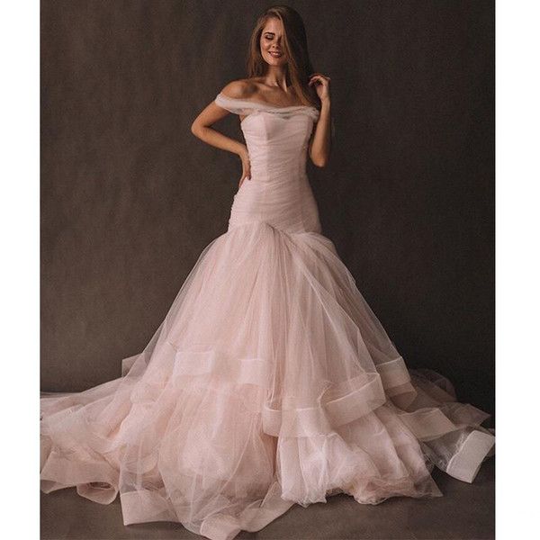 2019 Off The Shoulder Blush Pink Prom Dresses Mermaid Style Elegant Long Prom Gowns Tiered Skirt Tulle Vestidos De Formal Party Dresses