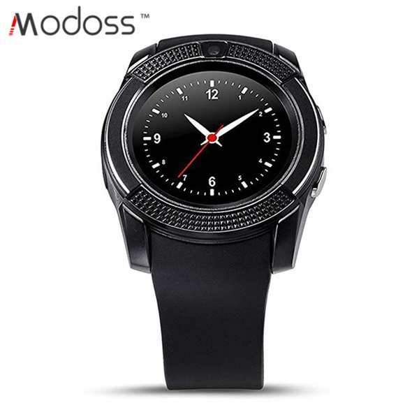 2019 Modoss V8 Bluetooth Smart Watch Round Touch Screen Sim TF Card with Camera Sleep Monitor Calorie Smart Wrist Watch for Android Phone