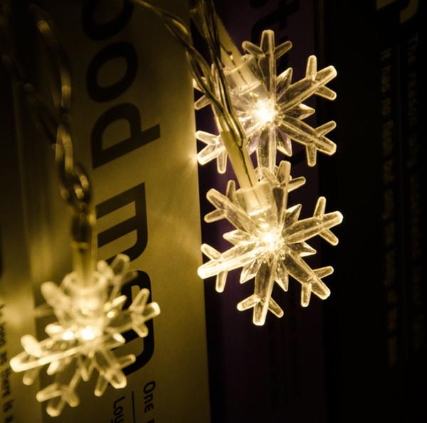 LED string light battery box 20LED 30LED 50LED 80LED snowflake string 2019 new Christmas day decoration flash snowflake Christmas lantern