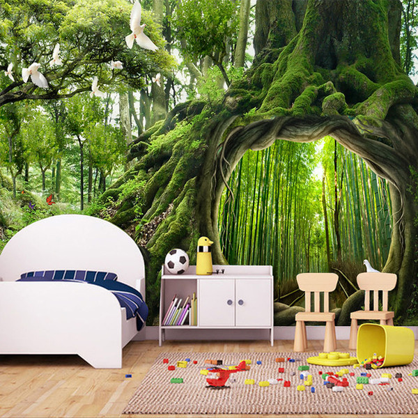 Custom Photo Wallpaper Green Virgin Forest Tree Hole Stereoscopic Mural Wall Painting Living Room Bedroom Background Murales 3D