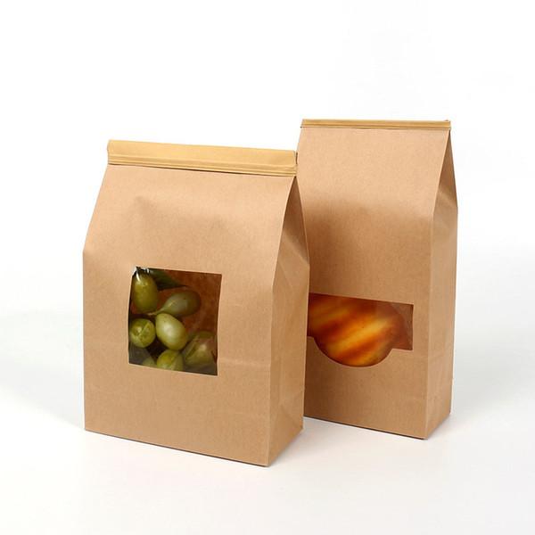 Packsack aus Kraftpapiersack plus Dichtungsstreifen Kraftpapier-Fenster Lebensmittel Popcornbeutel Brotkuchen Cookie-Beutel QW9976