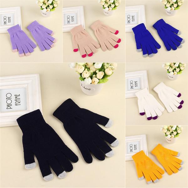 Magic Touch Screen Gloves Трикотажное Texting Stretch Взрослый один размер Winter Warm Полный Finger сенсорный экран перчатки Xmas подарки оптом AFJ756