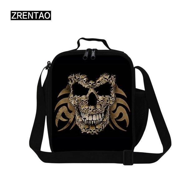Cool Skull Printing Little Baby Kids Lunch Cooler Bag Thermal Toddlers Lunchbox With Shoulder Strap For School Children Bag