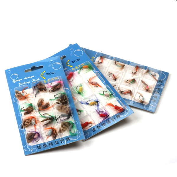 Rompin 12pcs/lot Insect Various Dry Fly Fishing Lure Trout Salmon Dry Flies Fish Artificial Hook Lures fishing Bait Feather