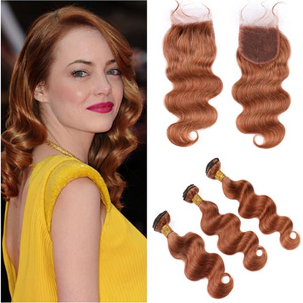 Medium Auburn peruanisches Jungfrau-Haar-Bundles mit Verschluss-Körper-Welle # 30 Hellbraun Menschliches Haar Weave Extensions mit Spitze Schließung 4x4