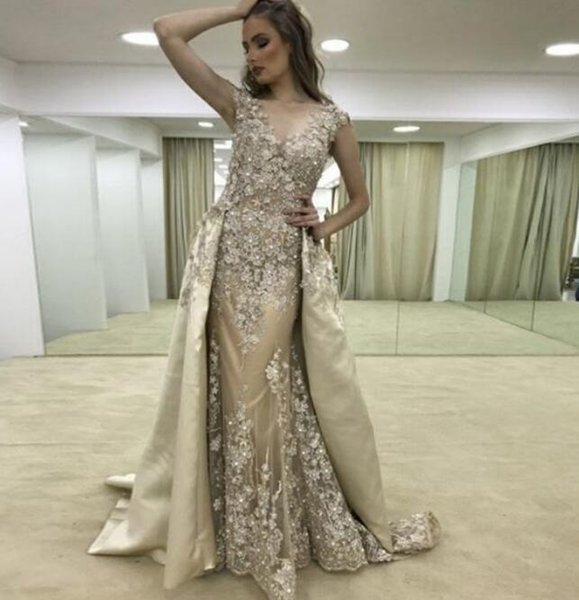 Abendkleider 3D Flower Lace Prom Dresses with Detachable Train Overskirts Formal Evening Gowns Beaded Applique Celebrity Red Carpet Dress