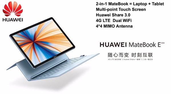 Best HUAWEI Laptop MateBook E 2019 New 4G LTE Moudle 12 Inch Laptop+Tablet 2-in-1 Notebook Qualcomm CPU Dual WiFi 13.0 MP Camera