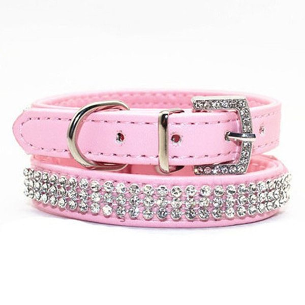 Bling Rhinestone Puppy Cat Collars Adjustable Leather Bowknot Kitten Collar For Small Medium Dogs Mascotas Accessories S M L