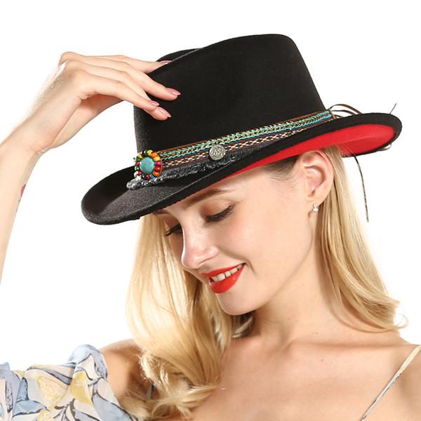 Fashion New Unisex Men Women Black Red Patchwork Cowboy Felt Hat Larger Brim Panama Jazz Fedora Hats with National Style Ribbon
