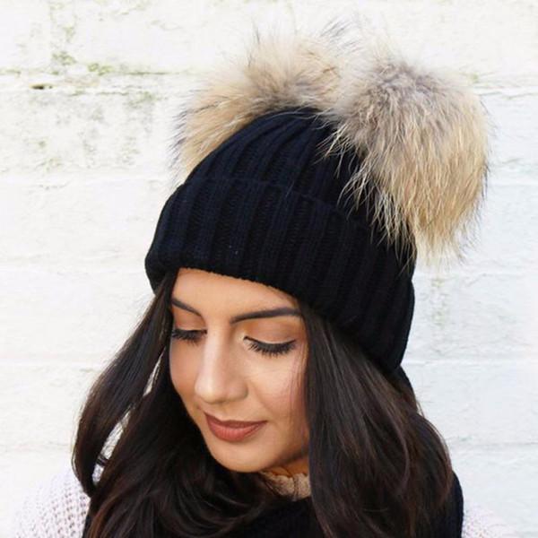 2017 Double fourrure boule casquette pom poms hiver chapeau chaud pour les femmes fille chapeau tricoté bonnet casquettes Crochet marque nouvelle épais femme