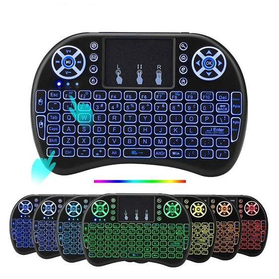 i8 7 couleurs rétroéclairé clavier sans fil