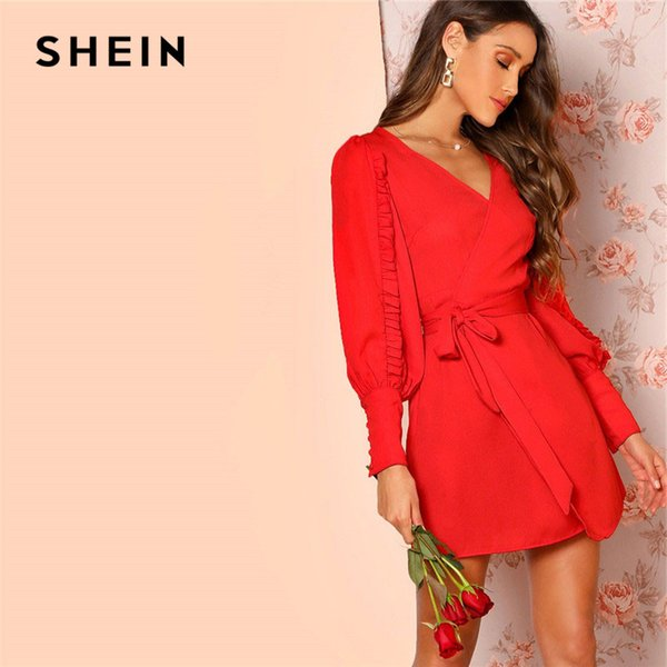 c7a5d3899c3b8 SHEIN Red Frilled Bishop Sleeve Belted Surplice Wrap Women Mini Dress 2019  Spring Long Sleeve V Neck Elegant Party Dresses Knit Dresses For Women ...