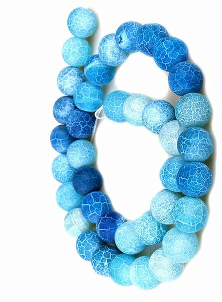 SKY BLUE 4MM 8mm 6MM 10MM Weathered Agates Natural Stone Beads Frost Onyx Round Loose Beads Necklace Bracelet Earrings DIY Jewelry Making