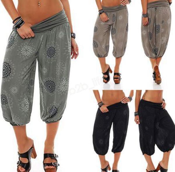 Pantalones de yoga hippies sueltos ocasionales Hombres Mujeres Pantalones holgados de cintura alta Boho Pantalones al aire libre Estampados de gran tamaño Bloomers Pantalones de pierna ancha LJJA2897