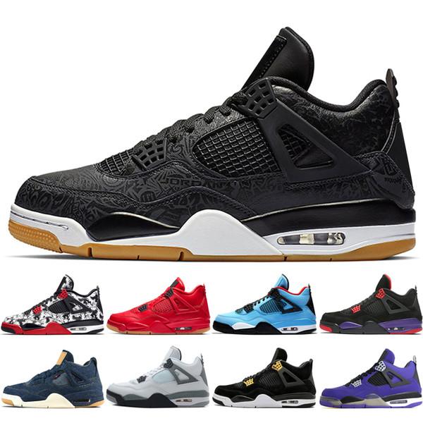 New 4 4s Black Gum Day Uomini Scarpe da basket Travis Scotts Raptors White Cement Royalty Pure Money uomo sneakers sportive designer scarpe da ginnastica
