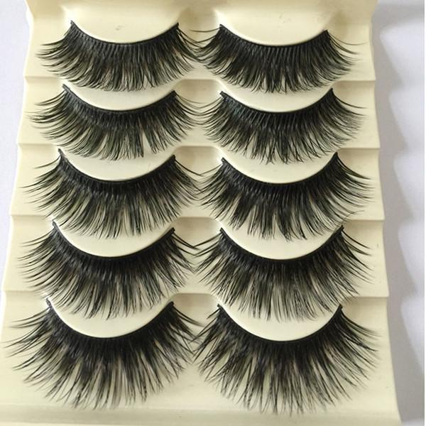 5Pairs/Set Natural Black Long Fake Eye Lashes Handmade Thick False Eyelashes Black Makeup Cosmetic Beauty Extension Tools D19011701
