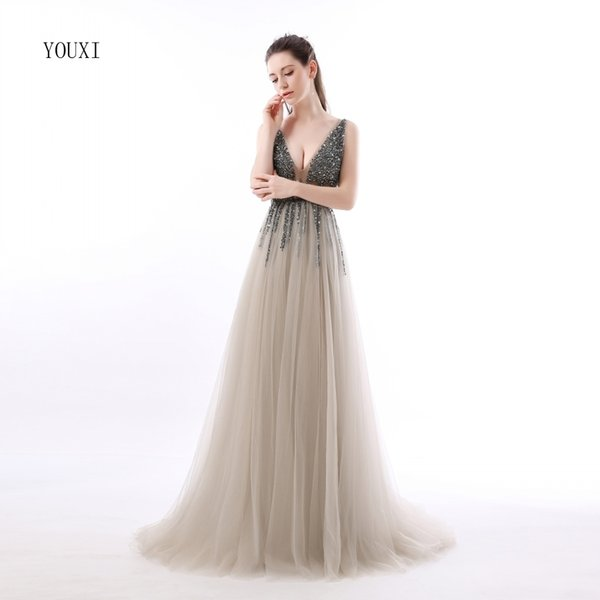Sexy Side Split Prom Dresses Deep V-neck Backless Beads Crystal Gowns Sleeveless Sweep Train Cheap Tulle Party Dress Q190516