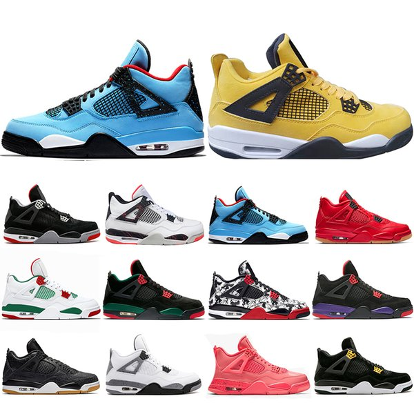 Top Fashion Bred Tattoo 4 IV 4s Men Basketball Shoes Travis Pizzeria Singles Day Black cat mens trainers designer Sports Sneakers US 7-13