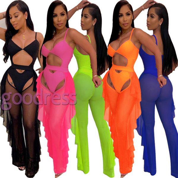 top popular Women Sexy bikini set 2pcs hollow out swimsuit Perspective mesh ruffles cover up long pants push up swimwear party club beach bathing suits 2021