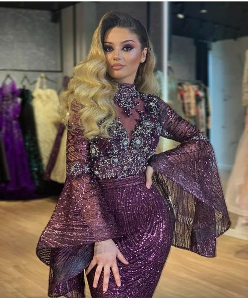 Evening dress Yousef aljasmi Labourjoisie Zuhair murad Mermaid High Collar Long Sleeve Purple Sequin Crystal 8 Long Dress James_paul9
