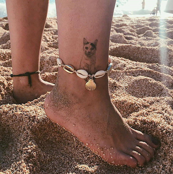 Shell tobillera cadena de metal oro Shell pulsera del tobillo Tobilleras de playa Cadenas del pie Diseñador Joyas de playa para mujeres Will y Sandy Regalo 320264
