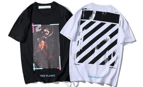 19SS nouveau religieux Madonna T-shirt à manches courtes derrière la marée chemise blanche à rayures amants hommes et femmes
