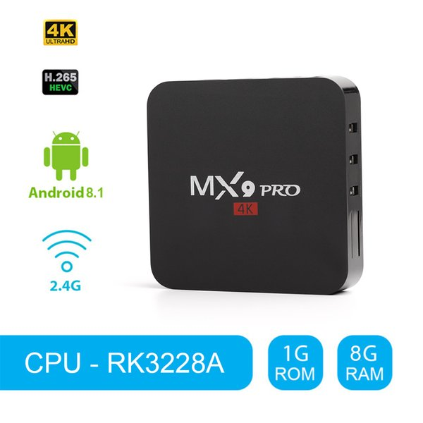 Android Tv Kutusu MX9Pro RK3228A Cortex A53 4 k 1G 8G HD2.0 Akıllı KUTUSU Android 8.1 2.4G WiFi 100 M Ethernet