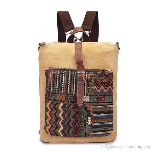 National Style Canvas Backpack For Women Hgih Quality Fashion Designer Travel Bags Pop Trend Nice School Backpack Bag