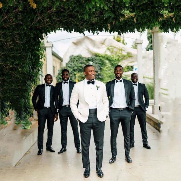 Ivory Groom Tuxedo Homens ternos para casamento preto Partido Groomsmen Outfit Costume Homme Prom 2piece Trajes de hombre Slim Fit Terno Masculino