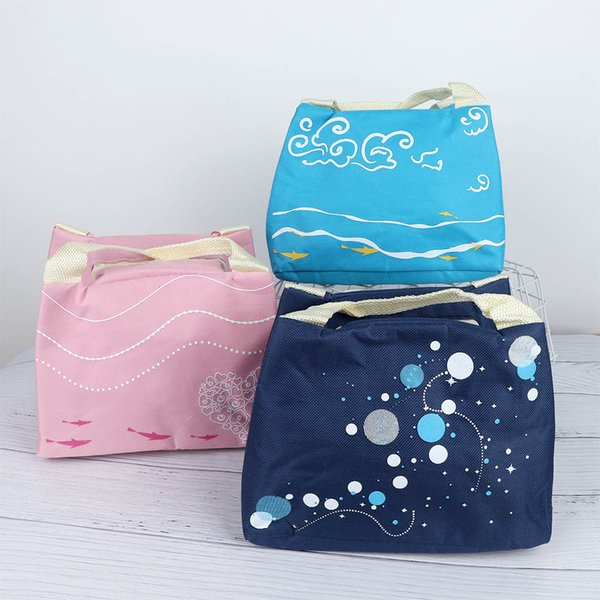 Lovely Underwater World Pattern Oxford Lunch Bag Waterproof Oxford Cloth Thermal Insulated Portable Lunch Box Tote