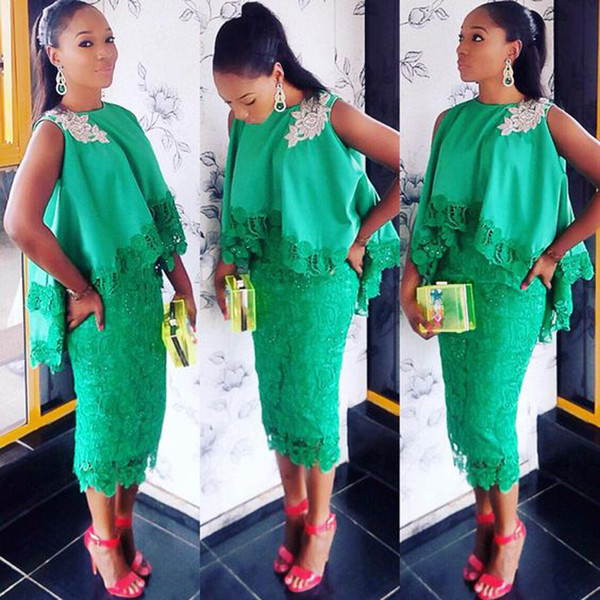 2019 Fashion Green African Women Evening Party Dress With Cape lace Appliques African Evening Gowns Hi-Low Cape Tea-Length Party Gowns