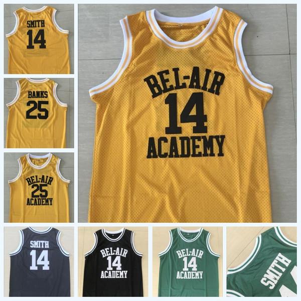 # 14 Will Smith BEL-AIR Academia Jersey # 25 Carlton Bancos BEL-AIR Academia Filme Basquete Jersey Dupla Costurado Nome Número Rápido grátis