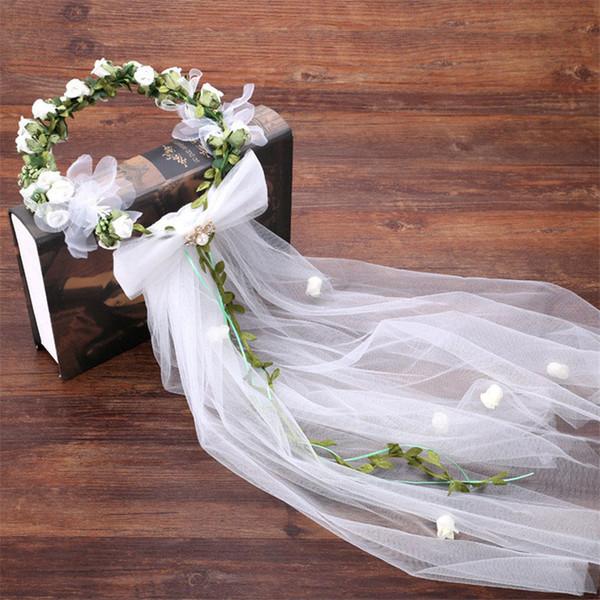 Klassische Braut Kopfschmuck Mode Strand Blume Hut Zubehör elegante Blume Brautschleier Zubehör Foto Garland Schleier